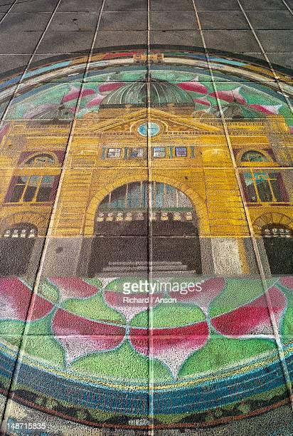 Steet art of Flinders Street Station.