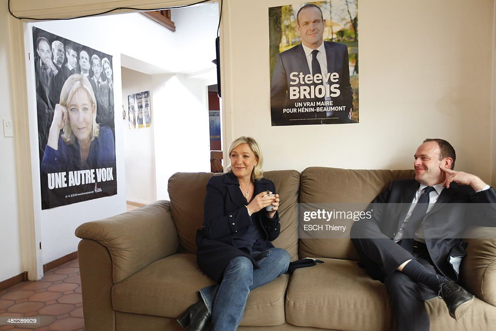 Steeve Briois candidate of the Front National at the mayor of Henin Beaumont and general secretary of the FN with Marine Le Pen during the first round of the municipal elections on March 23, 2014.
