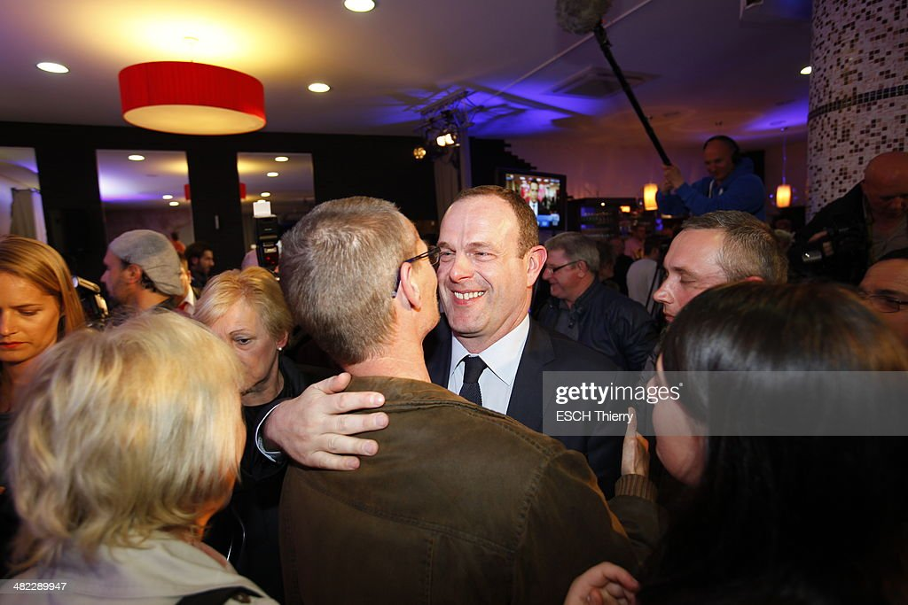 Steeve Briois candidate of the Front National at the mayor of Henin Beaumont and general secretary of the FN celebrating his election at the first round of the municipal elections on March 23, 2014.