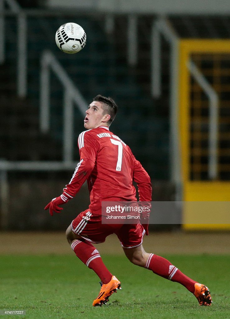 Steeven Ribery (brother of French national football player Franck Ribery) of FC Bayern in action during the A Juniors Bundesliga match between 1860 Muenchen and Bayern Muenchen at Stadion an der Gruenwalder Strasse on February 21, 2014 in Munich, Germany.