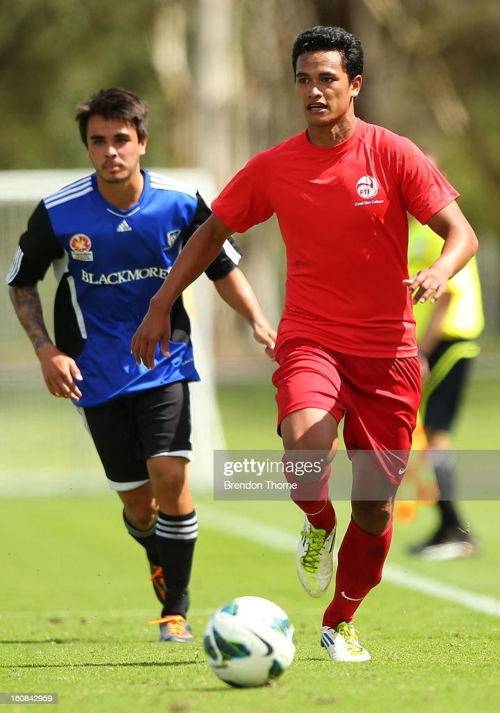 Steevy Chong Hue of Tahiti controls the ball during the friendly match between Sydney FC and Tahiti at Macquarie Uni on February 6, 2013 in Sydney, Australia.
