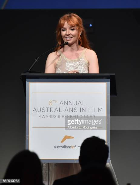 Stef Dawson speaks onstage at the 6th Annual Australians in Film Award Benefit Dinner at NeueHouse Hollywood on October 18 2017 in Los Angeles...