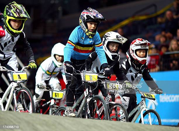 Stef Lippens of Belgium competes in the 7 yr old boys during day two of the UCI BMX World Championships at Vector Arena on July 25 2013 in Auckland...