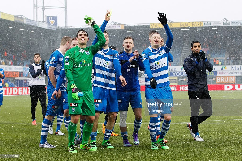 Stef Nijland of PEC Zwolle, goalkeeper Mickey van der Hart of PEC Zwolle, Bart Schenkeveld of PEC Zwolle, Wouter Marinus of PEC Zwolle, Thomas Lam of PEC Zwolle, Tarik Evre of PEC Zwolle during the Dutch Eredivisie match between PEC Zwolle and Feyenoord Rotterdam at the IJsseldelta stadium on February 14, 2016 in Zwolle, The Netherlands