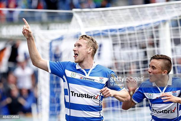 Stef Nijland of PEC Zwolle Ryan Thomas of PEC Zwolle during the Dutch Eredivisie match between PEC Zwolle and Vitesse Arnhem at the...