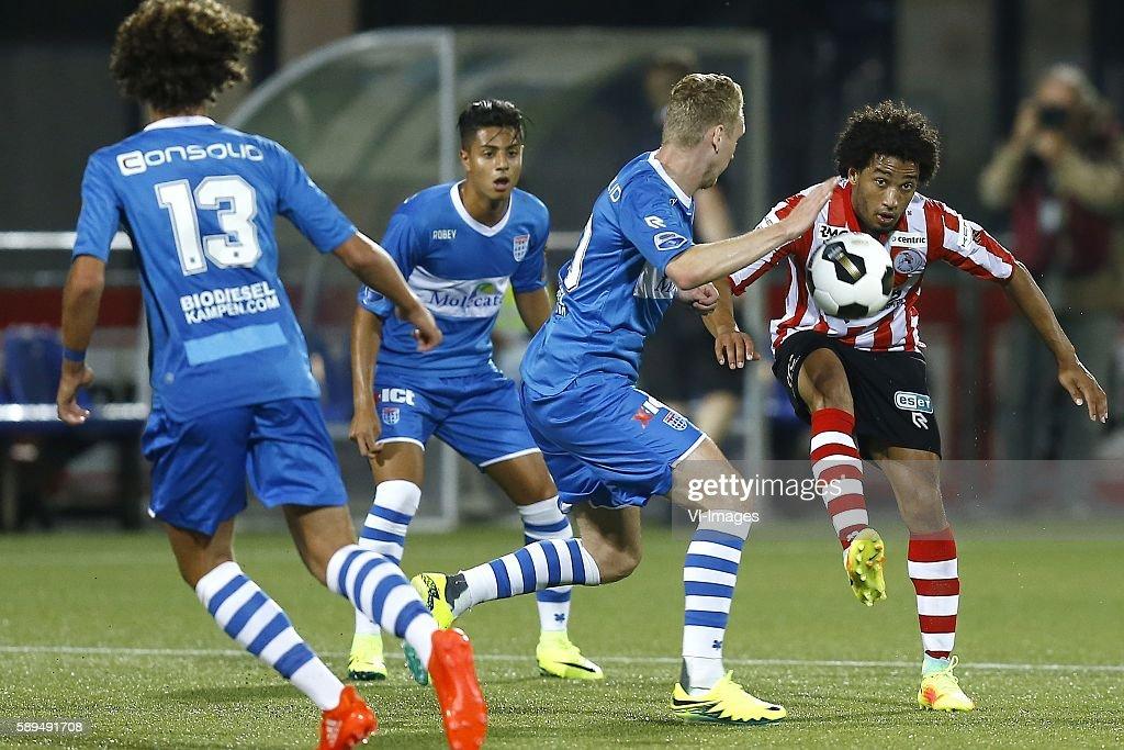 Stef Nijland Ryan Sanusi during the Dutch Eredivisie match between PEC Zwolle and Sparta Rotterdam on august 13 2016 at the MAC#179PARK stadium in...