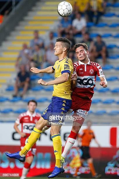 Stef Peeters midfielder of STVV and Birger Verstraete midfielder of KV Kortrijk pictured during the Jupiler Pro League match between STVV and Kv...