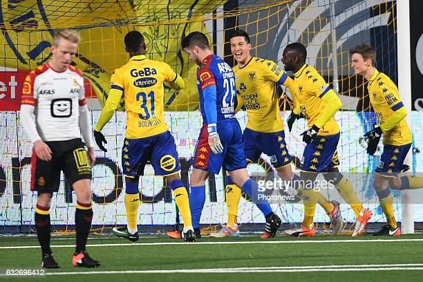 Stef Peeters midfielder of STVV celebrates scoring a goal with teammates during the Jupiler Pro League match between K SintTruidense VV and KV...