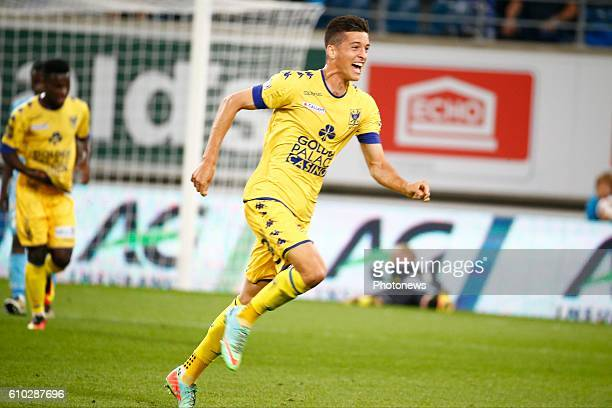 Stef Peeters midfielder of STVV scores and celebrates during the Jupiler Pro League match between KAA Gent and STVV at the Ghelamco Arena on in Gent...