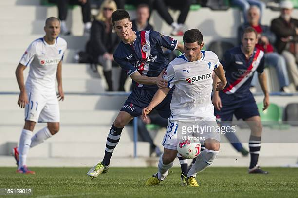 Stef Peeters of Sparta Kevin Volland of Hoffenheim during the friendly match between Sparta Rotterdam and TSV Hoffenheim 1899 on January 8 2013 at...