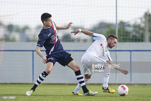 Stef Peeters of Sparta Tobias Weis of Hoffenheim during the friendly match between Sparta Rotterdam and TSV Hoffenheim 1899 on January 8 2013 at...