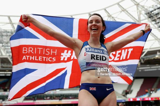 Stef Reid of Great Britain celebrates winning the gold medal in the Women's Long Jump T44 Final during Day Two of the IPC World ParaAthletics...