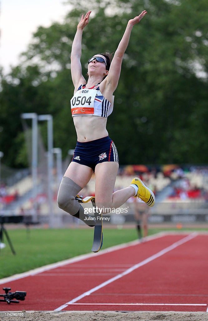 Stef Reid of Great Britain in action in the Women's Long Jump T44 during day four of the IPC Athletics World Championships on July 23, 2013 in Lyon, France.