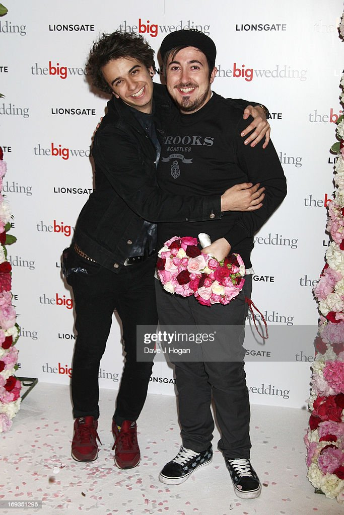 Stefan Abingdon and Dru Wakely of the Midnight Beast attend a special screening of 'The Big Wedding' at The Mayfair Hotel on May 23, 2013 in London, England.