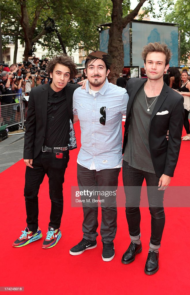 Stefan Abingdon, Dru Wakely and Ashley Horne of The Midnight Beast attend the European Premiere of 'Red 2' at the Empire Leicester Square on July 22, 2013 in London, England.