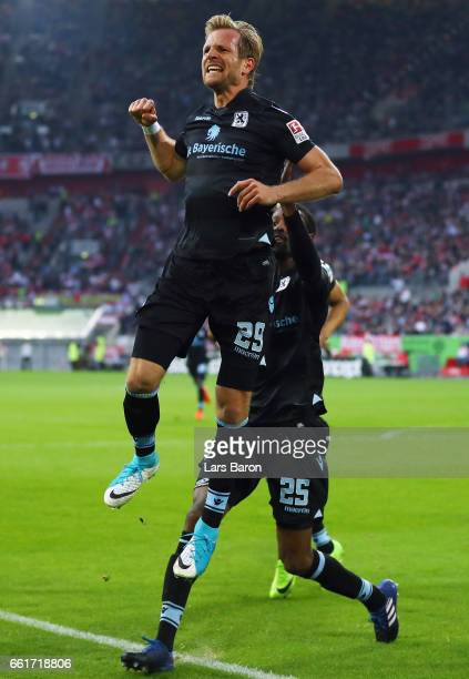 Stefan Aigner of 1860 Muenchen celebrates his team's first goal during the Second Bundesliga match between Fortuna Duesseldorf and TSV 1860 Muenchen...