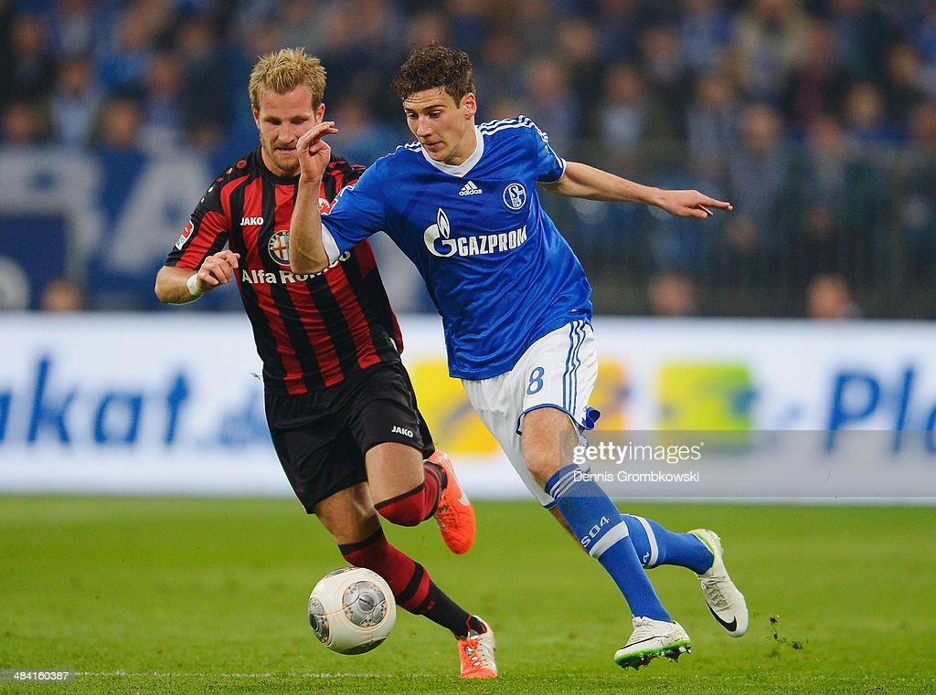 <a gi-track='captionPersonalityLinkClicked' href=/galleries/search?phrase=Stefan+Aigner&family=editorial&specificpeople=764034 ng-click='$event.stopPropagation()'>Stefan Aigner</a> of Eintracht Frankfurt and Leon Goretzka of FC Schalke 04 battle for the ball during the Bundesliga match between FC Schalke 04 and Eintracht Frankfurt at Veltins-Arena on April 11, 2014 in Gelsenkirchen, Germany.