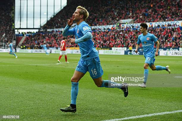 Stefan Aigner of Eintracht Frankfurt celebrates as he scores the opening goal during the Bundesliga match between 1 FSV Mainz 05 and Eintracht...