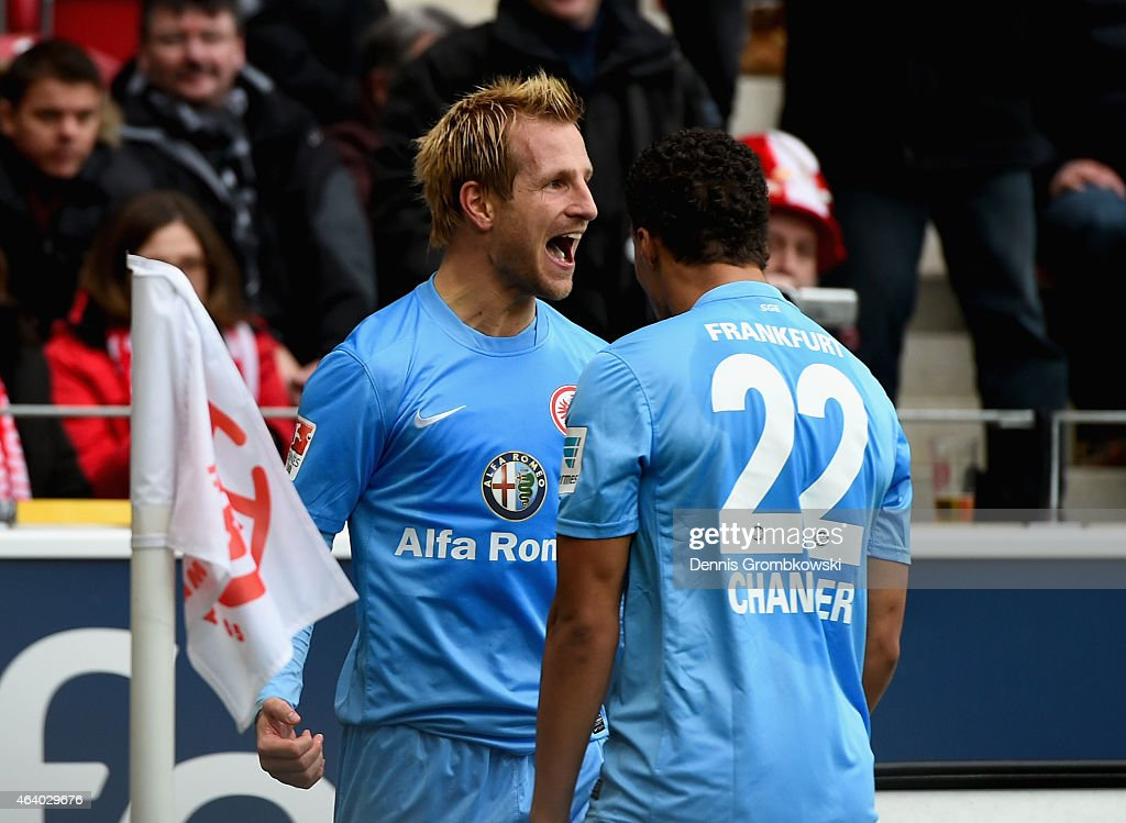 <a gi-track='captionPersonalityLinkClicked' href=/galleries/search?phrase=Stefan+Aigner&family=editorial&specificpeople=764034 ng-click='$event.stopPropagation()'>Stefan Aigner</a> of Eintracht Frankfurt celebrates as he scores the opening goal during the Bundesliga match between 1. FSV Mainz 05 and Eintracht Frankfurt at Coface Arena on February 21, 2015 in Mainz, Germany.