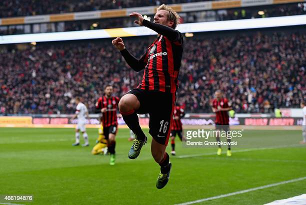 Stefan Aigner of Eintracht Frankfurt celebrates as he scores the third goal during the Bundesliga match between Eintracht Frankfurt and SC Paderborn...