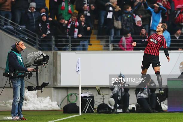 Stefan Aigner of Frankfurt celebrates his team's first goal during the Bundesliga match between Eintracht Frankfurt and VfB Stuttgart at...