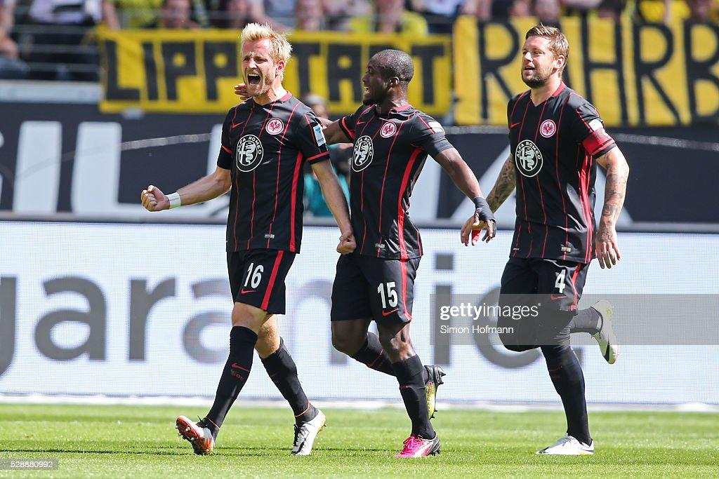 Stefan Aigner of Frankfurt celebrates his team's first goal during the Bundesliga match between Eintracht Frankfurt and Borussia Dortmund at...