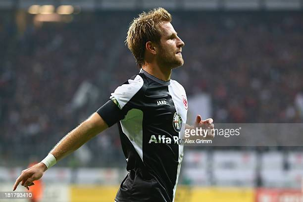 Stefan Aigner of Frankfurt celebrates his team's second goal during the DFB Cup second round match between Eintracht Frankfurt and VfL Bochum at...