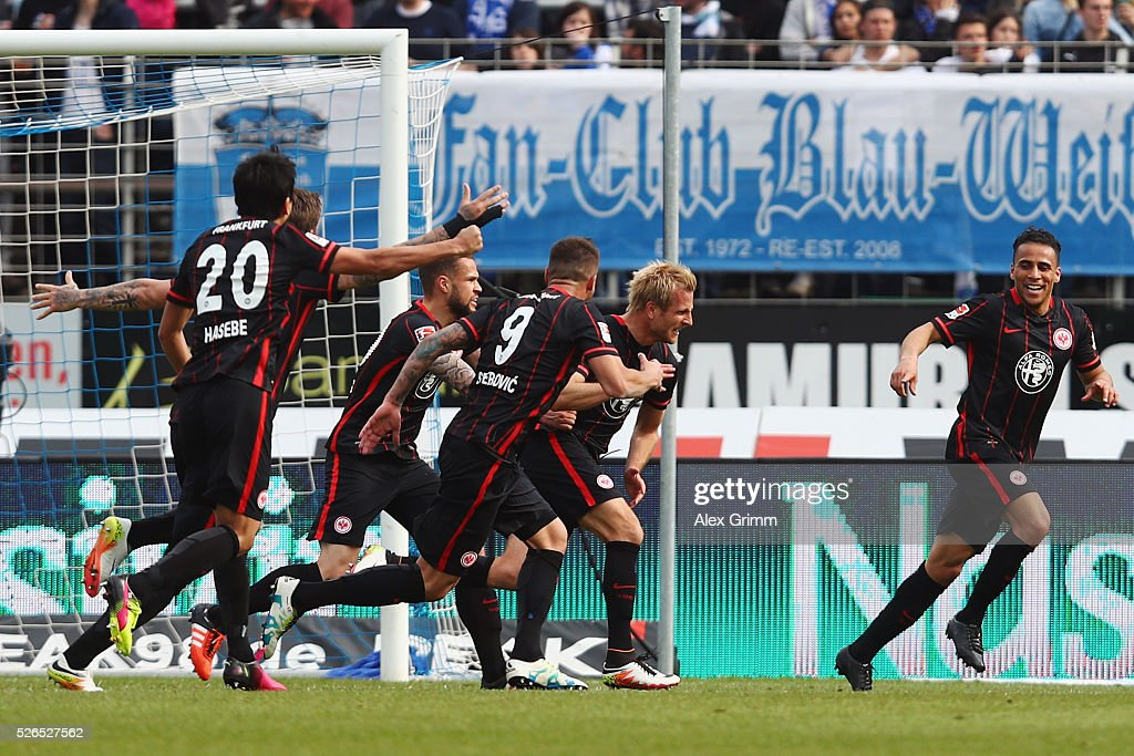 <a gi-track='captionPersonalityLinkClicked' href=/galleries/search?phrase=Stefan+Aigner&family=editorial&specificpeople=764034 ng-click='$event.stopPropagation()'>Stefan Aigner</a> (2R) of Frankfurt celebrates his team's second goal with team mates during the Bundesliga match between SV Darmstadt 98 and Eintracht Frankfurt at Merck-Stadion am Boellenfalltor on April 30, 2016 in Darmstadt, Hesse.