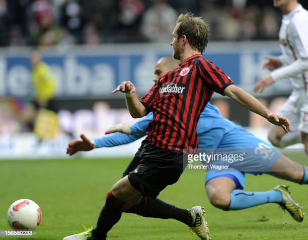Stefan Aigner of Frankfurt is scoring his teams second goal during the Bundesliga match between Eintracht Frankfurt and FC Augsburg at...