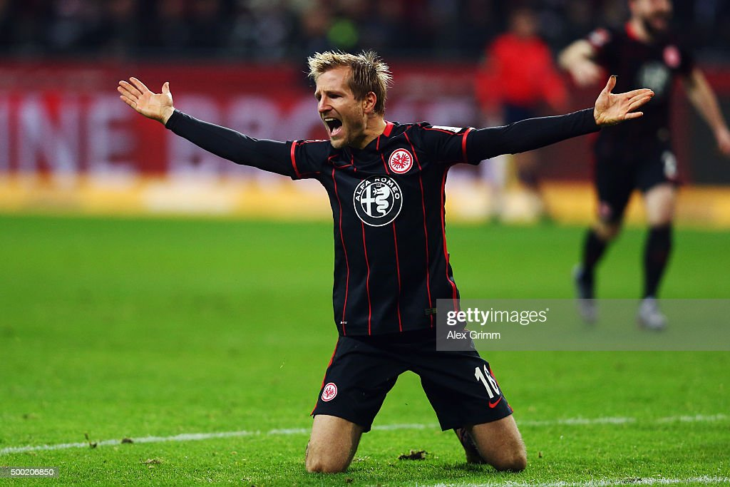 <a gi-track='captionPersonalityLinkClicked' href=/galleries/search?phrase=Stefan+Aigner&family=editorial&specificpeople=764034 ng-click='$event.stopPropagation()'>Stefan Aigner</a> of Frankfurt reacts during the Bundesliga match between Eintracht Frankfurt and SV Darmstadt 98 at Commerzbank-Arena on December 6, 2015 in Frankfurt am Main, Germany.
