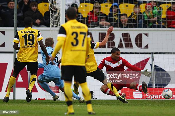 Stefan Aigner of Muenchen scores his team's second goal during the Second Bundesliga match between Alemannia Aachen and 1860 Muenchen at Tivoli...