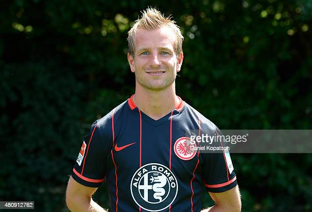 Stefan Aigner poses during the Eintracht Frankfurt team presentation on July 15 2015 in Frankfurt am Main Germany