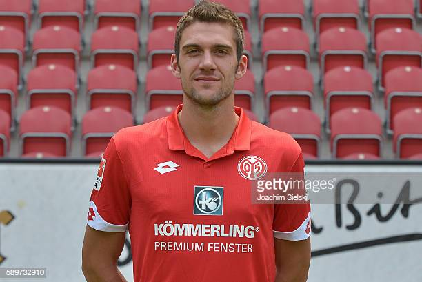 Stefan Bell poses during the official team presentation of 1 FSV Mainz 05 at Opel Arena on July 25 2016 in Mainz Germany
