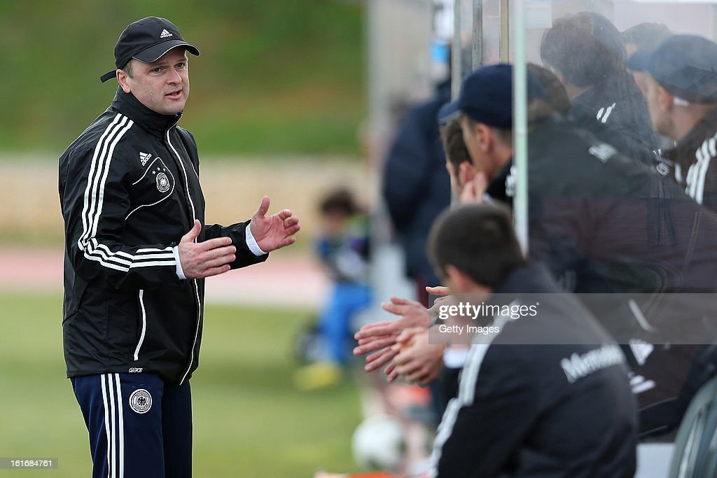 Stefan Boeger, Germany Head Coach looks on during the Under17 Algarve Youth Cup match between U17 Portugal and U17 Germany at the Stadium Bela Vista on February 12, 2013 in Parchal, Portugal.