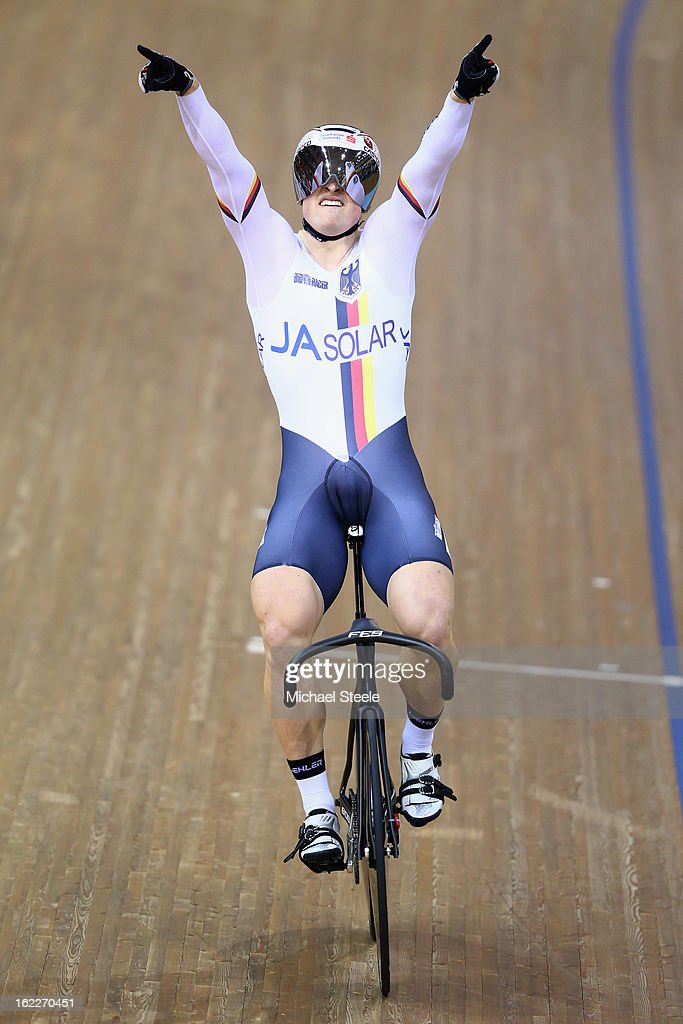 Stefan Botticher of Germany celebrates winning gold in the men's team sprint final during day two of the UCI Track World Championships at Minsk Arena on February 21, 2013 in Minsk, Belarus.