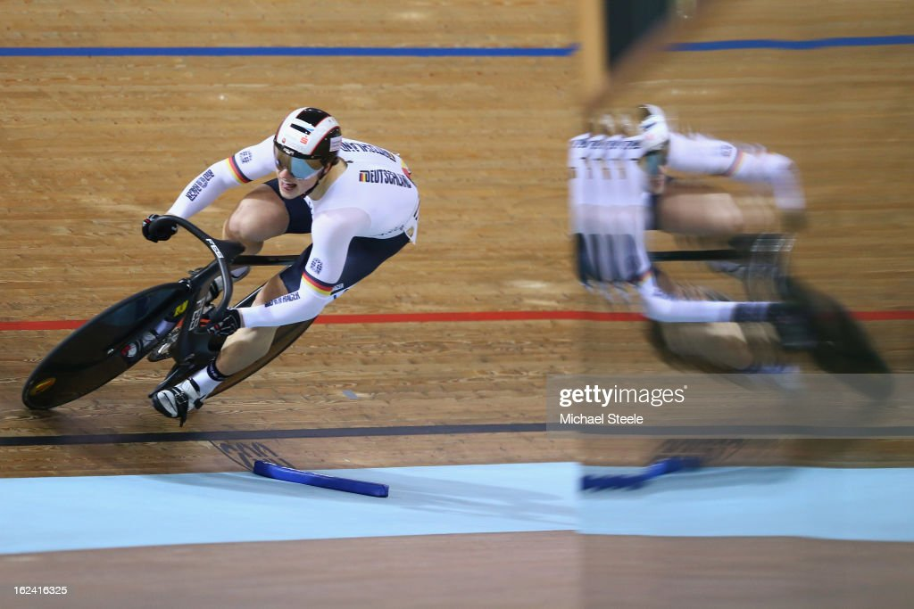 Stefan Botticher of Germany during qualification in the men's sprint on day four of the UCI Track World Championships at Minsk Arena on February 23, 2013 in Minsk, Belarus.