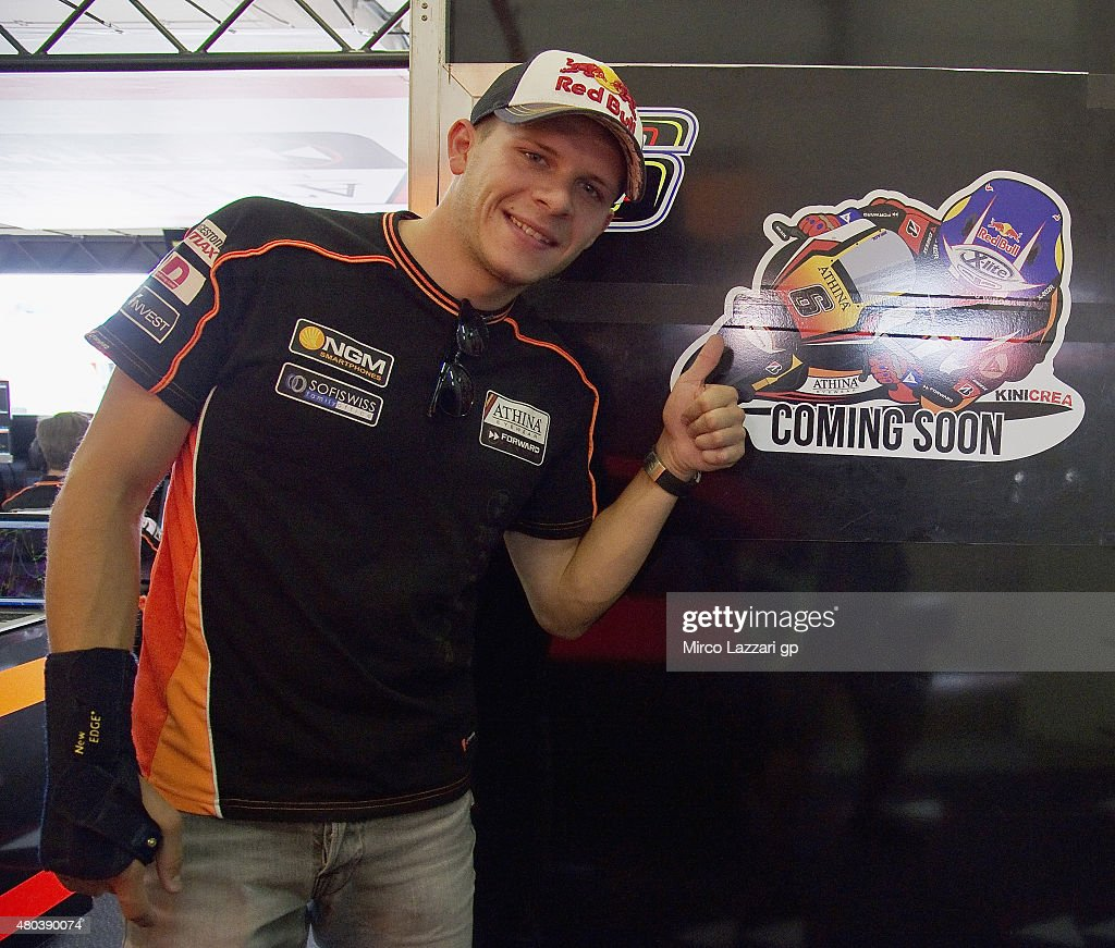<a gi-track='captionPersonalityLinkClicked' href=/galleries/search?phrase=Stefan+Bradl&family=editorial&specificpeople=4956082 ng-click='$event.stopPropagation()'>Stefan Bradl</a> of Germany and Athina Forward Racing shows the sticker of the team with 'cooming soon' in box during the MotoGp of Germany - Qualifying at Sachsenring Circuit on July 11, 2015 in Hohenstein-Ernstthal, Germany.