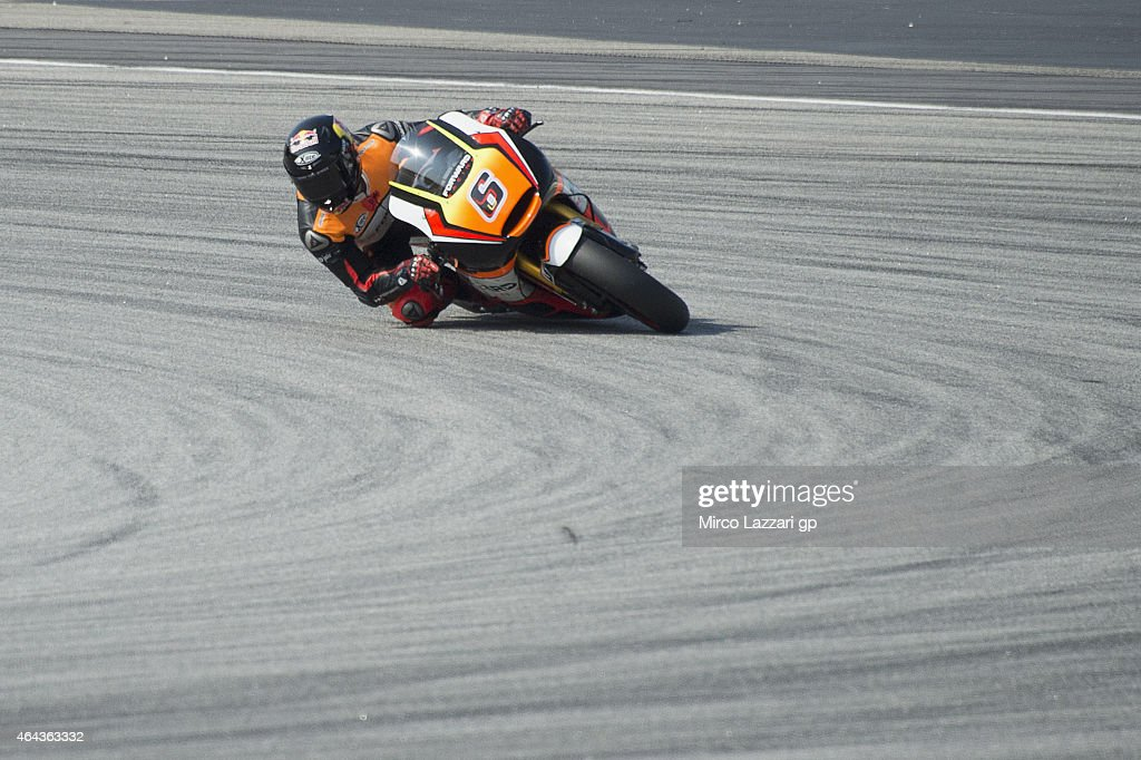 Stefan Bradl of Germany and Forward Racing rounds the bend during day three of the Sepang MotoGP Tests at Sepang Circuit on February 25, 2015 in Kuala Lumpur, Malaysia.