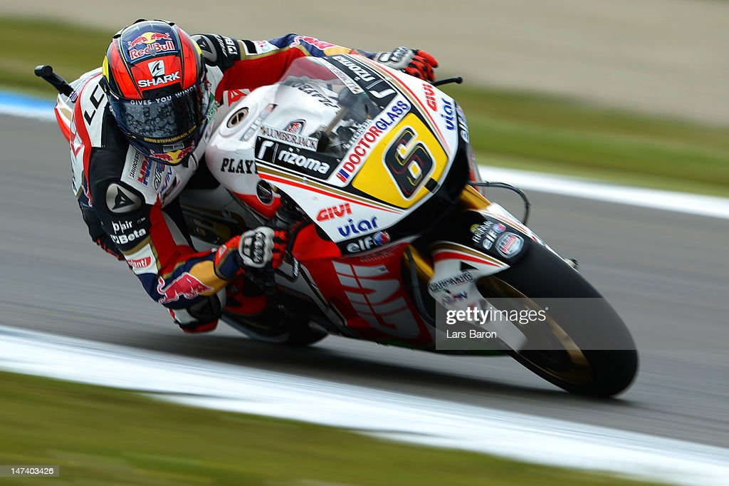 <a gi-track='captionPersonalityLinkClicked' href=/galleries/search?phrase=Stefan+Bradl&family=editorial&specificpeople=4956082 ng-click='$event.stopPropagation()'>Stefan Bradl</a> of Germany and LCR Honda MotoGP drives during the qualifying of MotoGp Of Holland at TT Circuit Assen on June 29, 2012 in Assen, Netherlands.
