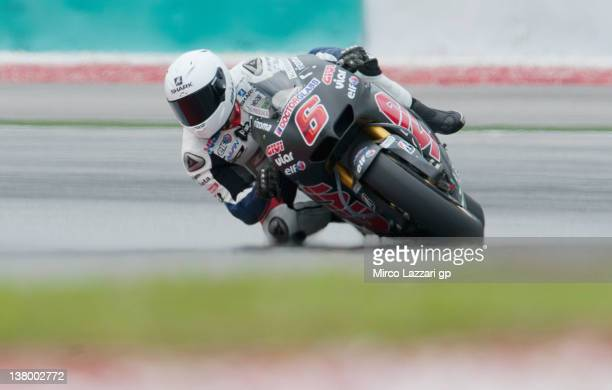 Stefan Bradl of Germany and LCR Honda MotoGP rounds the bend during the first day of MotoGP testing at Sepang Circuit on January 31 2012 in Kuala...