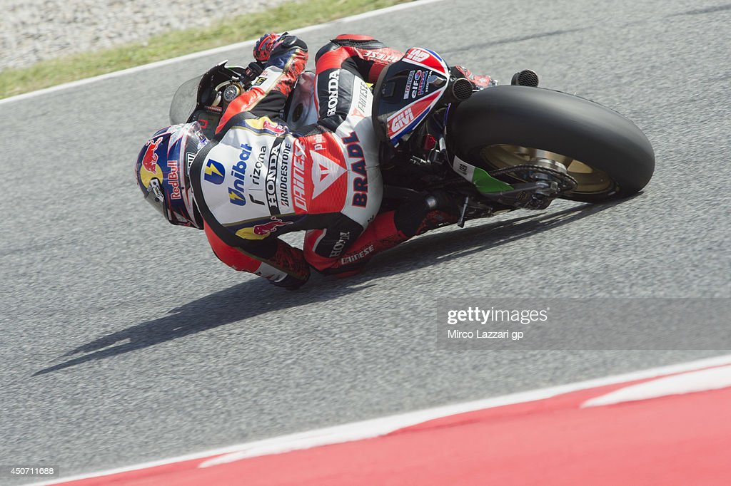 <a gi-track='captionPersonalityLinkClicked' href=/galleries/search?phrase=Stefan+Bradl&family=editorial&specificpeople=4956082 ng-click='$event.stopPropagation()'>Stefan Bradl</a> of Germany and LCR Honda MotoGP rounds the bend during the MotoGp Tests In Montmelo at Circuit de Catalunya on June 16, 2014 in Montmelo, Spain.