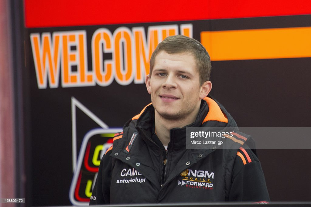 <a gi-track='captionPersonalityLinkClicked' href=/galleries/search?phrase=Stefan+Bradl&family=editorial&specificpeople=4956082 ng-click='$event.stopPropagation()'>Stefan Bradl</a> of Germany and NGM Mobile Forward Racing looks on in box during the MotoGP Tests in Valencia at Ricardo Tormo Circuit on November 11, 2014 in Valencia, Spain.