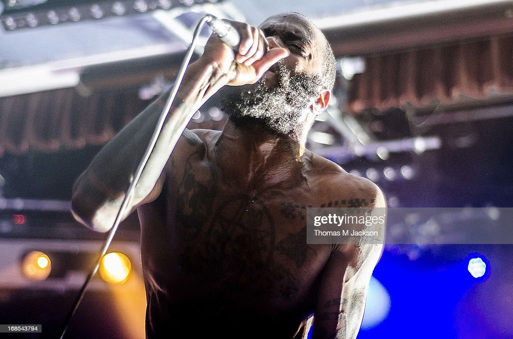Stefan Burnett of Death Grips performs on stage on Day 1 of the ATP Weekender curated by TV On The Radio on May 10, 2013 in Camber, United Kingdom.