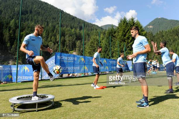 Stefan De Vrij and Wesley Hoedt of SS Lazio during the SS Lazio PreSeason Training Camp on July 18 2017 in Pieve di Cadore Italy