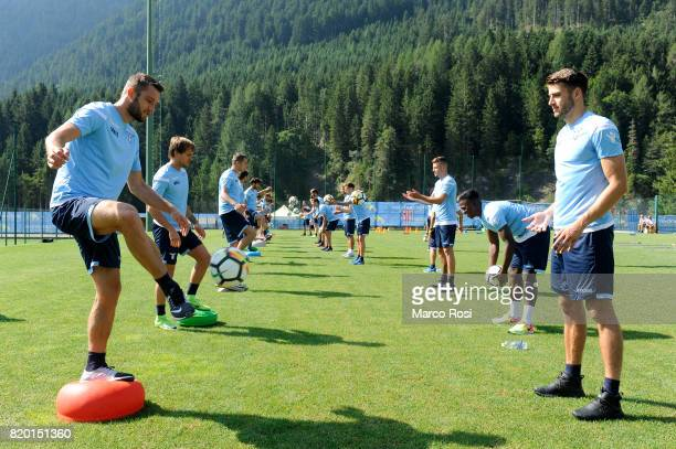 Stefan De Vrij and Wesley Hoedt of SS Lazio during the SS Lazio PreSeason Training Camp on July 21 2017 in Pieve di Cadore Italy