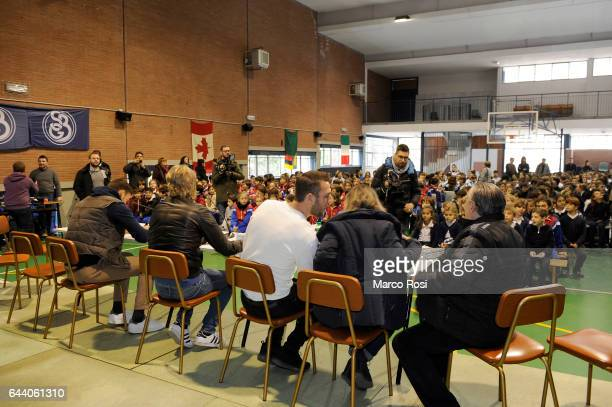 Stefan De Vrij Dusan Basta and Filip Djordjevic of SS Lazio meets school students with his teammates on February 23 2017 in Rome Italy