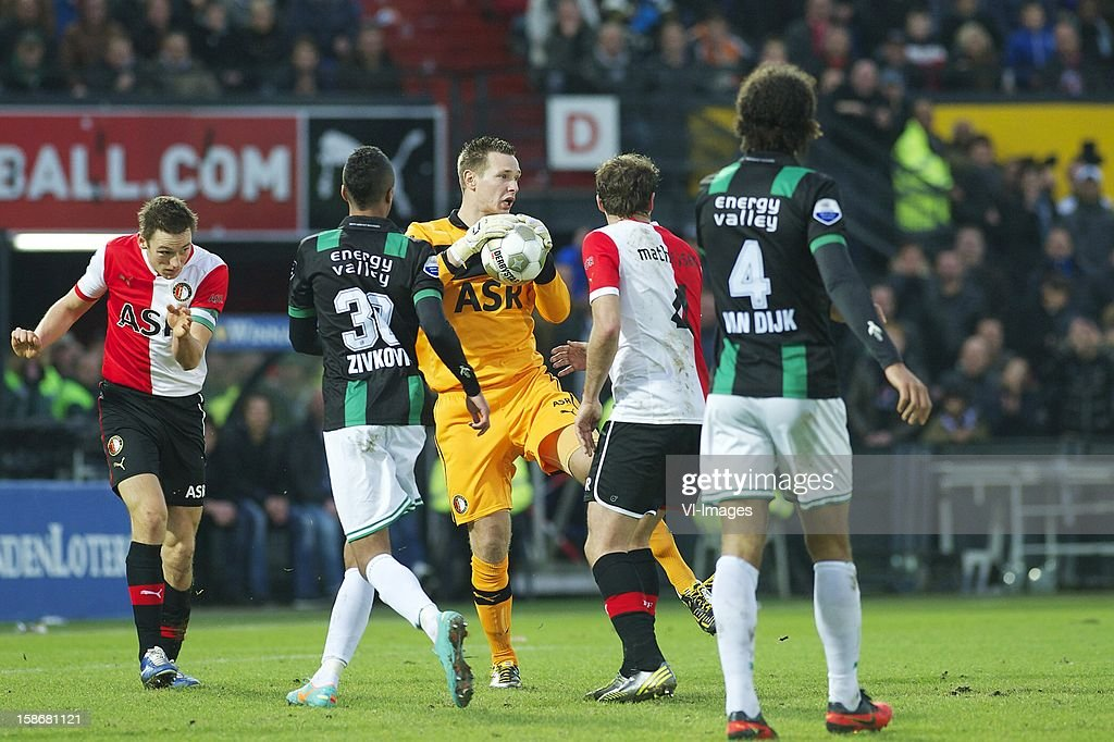 Stefan de Vrij of Feyenoord, goalkeeper Erwin Mulder of Feyenoord during the Dutch Eredivise match between Feyenoord and FC Groningen at stadium De Kuip on December 23, 2012 in Rotterdam, The Netherlands.
