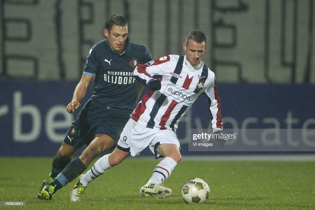 Stefan de Vrij of Feyenoord, Robbie Haemhouts of Willem II during the Dutch Eredivisie match between Willem II and Feyenoord at the Koning Willem II Stadium on february 3, 2013 in Tilburg, The Netherlands