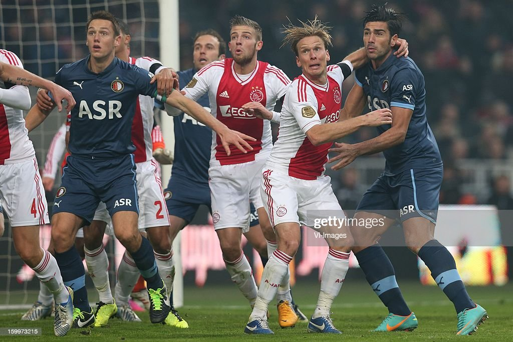 Stefan de Vrij of Feyenoord, Toby Alderweireld of Ajax, Christian Poulsen of Ajax, Graziano Pelle of Feyenoord during the Dutch Eredivise match between Ajax Amsterdam and Feyenoord at the Amsterdam Arena on January 20, 2013 in Amsterdam, The Netherlands.