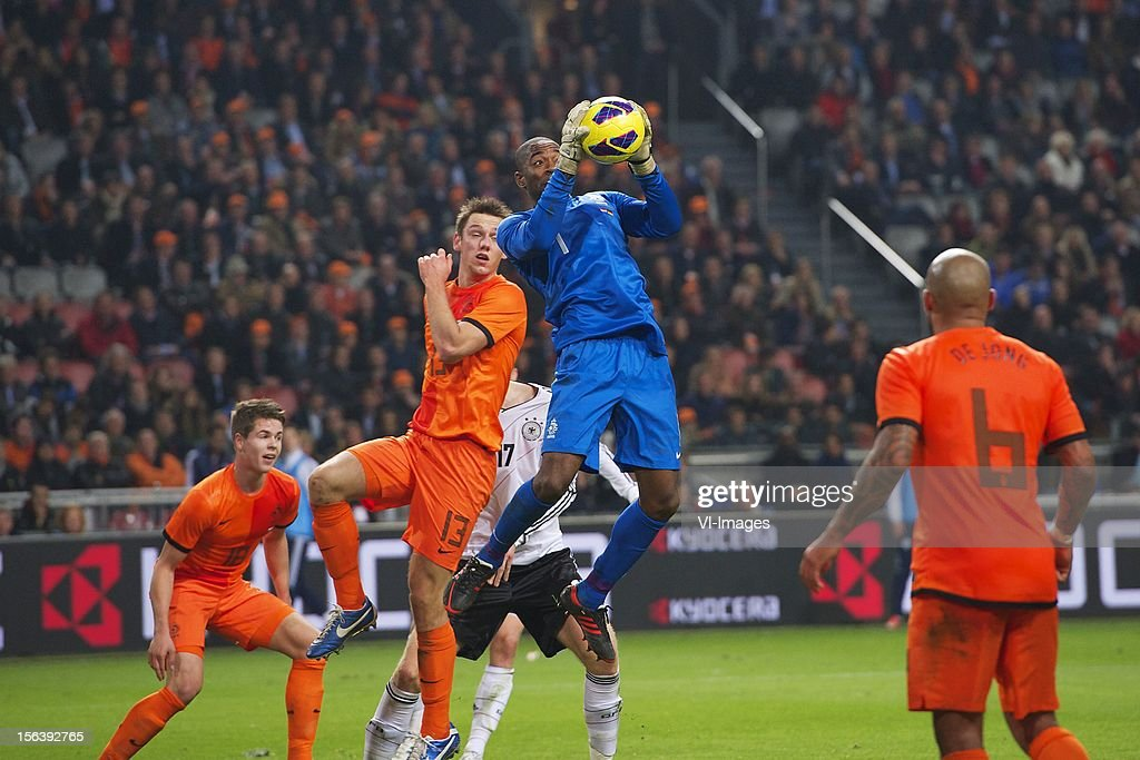 Stefan de Vrij of Holland, Goalkeeper Kenneth Vermeer of Holland during the Friendly match between Holland and Germany at the Amsterdam Arena on November 14, 2012 in Amsterdam, The Netherlands.